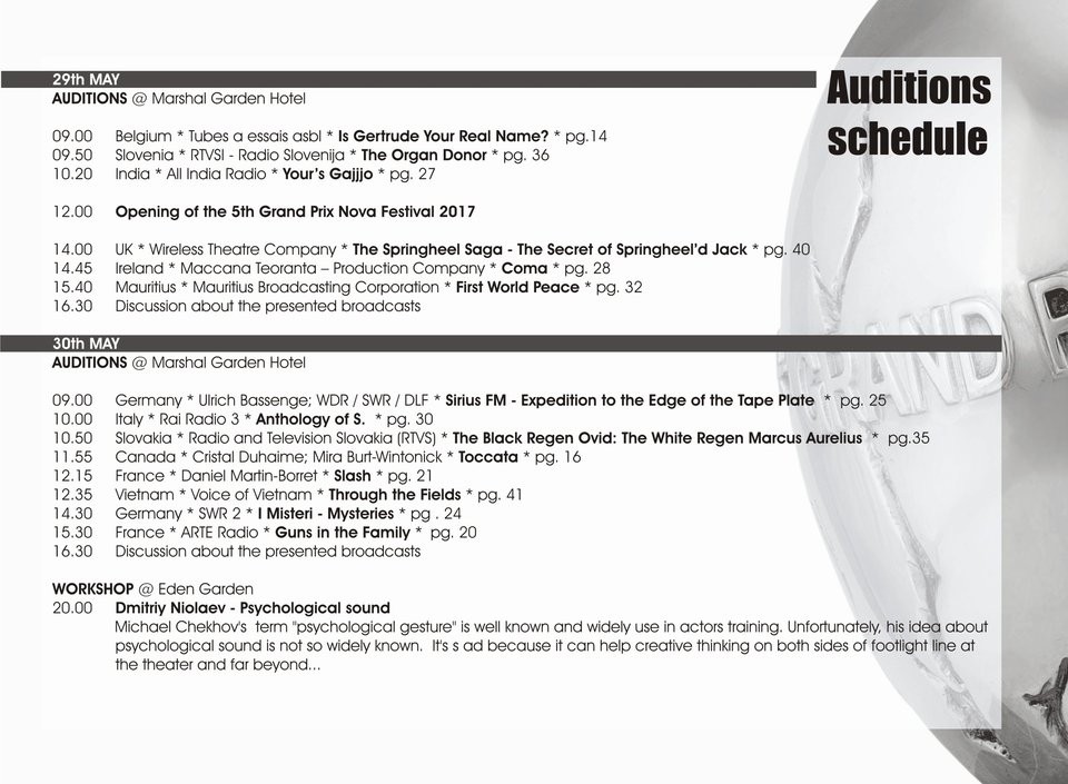 GPN 2017, Auditions schedule