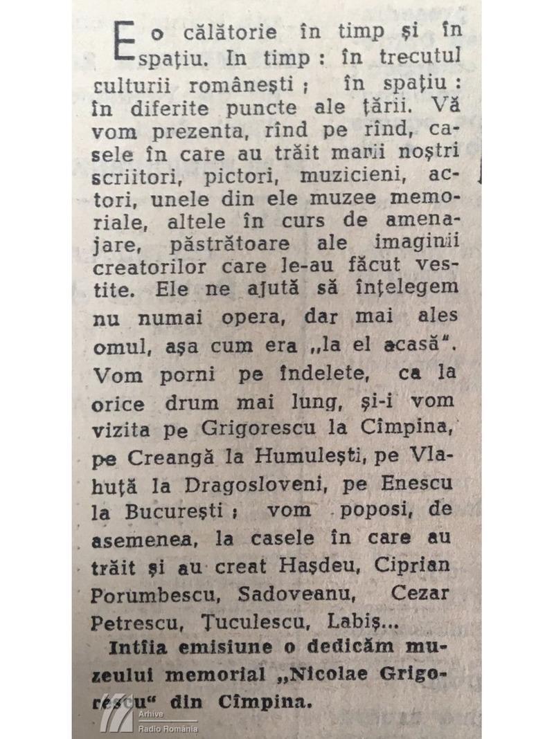"""""""Amintirile caselor"""". Prima ediție a emisiunii. Casa memorială """"Nicolae Grigorescu"""" din Câmpina (1965)"""