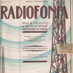 """""""Radiofonia"""", 9 noiembrie 1928, anul I, nr. 1"""