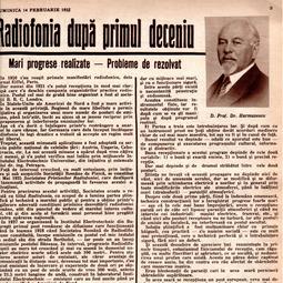 """Dragomir Hurmuzescu - Radiofonia după primul deceniu, """"Radiofonia"""", 14 februarie 1932"""