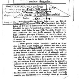 """""""Universitatea Radio"""". Pantelimon Halippa - Cu gândul la Unirea Basarabiei (9 apr. 1933)"""