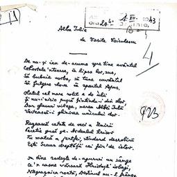 """""""Universitatea Radio"""". Vasile Voiculescu - Alba Iulia: versuri (1 dec. 1943)"""