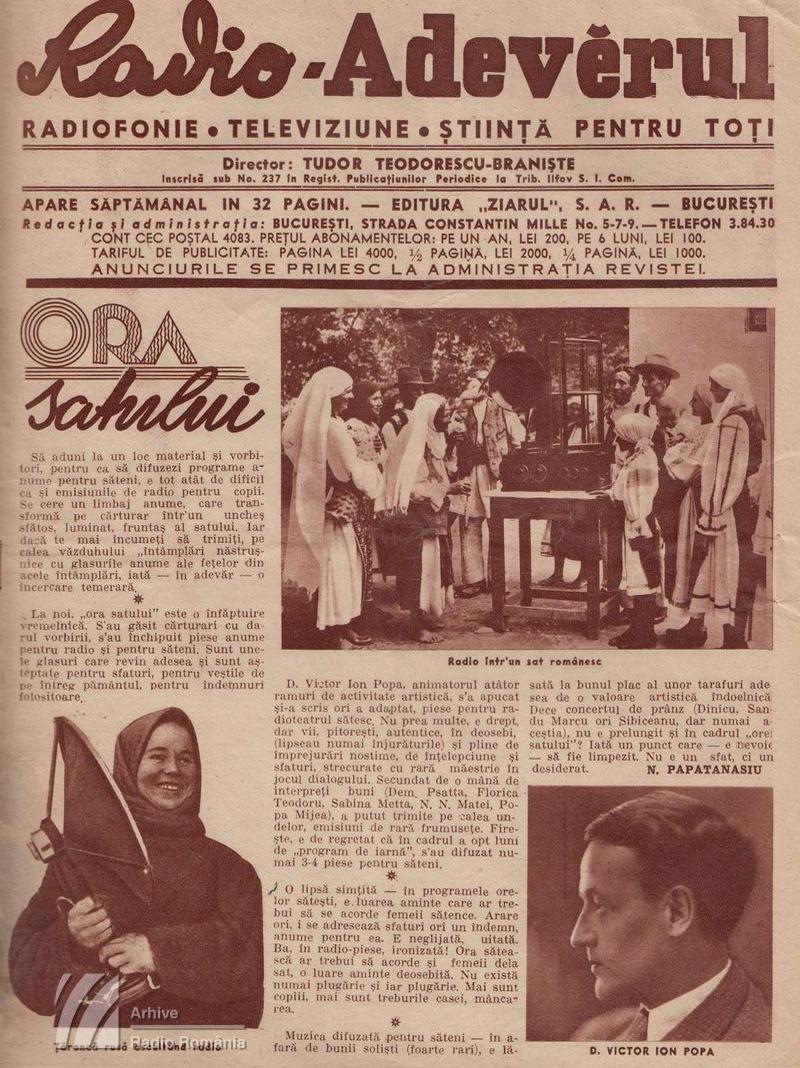 """""""Ora satului"""" (1938)"""