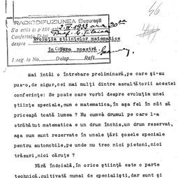"""""""Universitatea Radio"""". Gheorghe Țițeica  - Evoluția științelor matematice în țara noastră (1933)"""