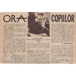 """Pagină dedicată emisiunii """"Ora copiilor"""" (1937)"""