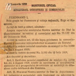 Decretul de înființare a Societăţii de Radiodifuziune (1926)