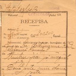 Recipisă - Taxa de timbru de la constituirea Societății de Difuziune Radio-telefonică (1928)