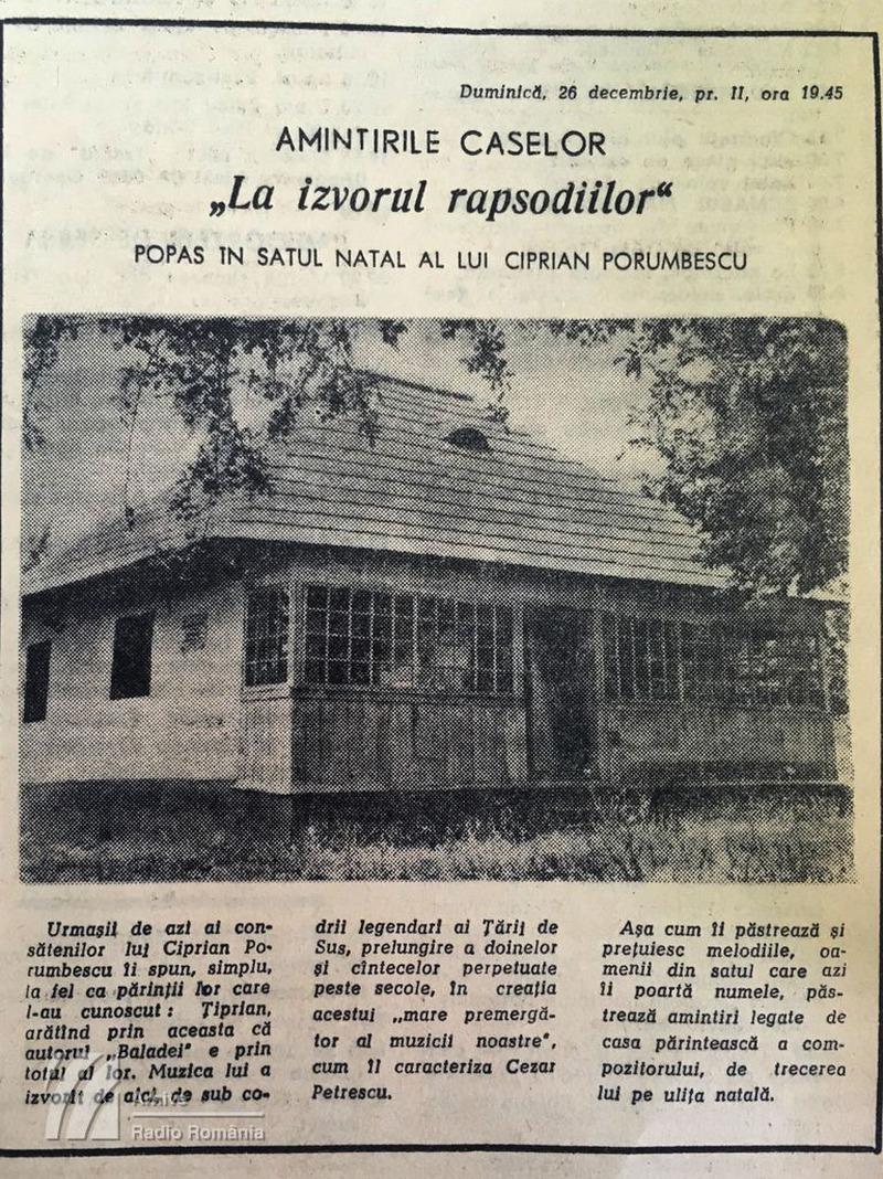 """""""Amintirile caselor"""". La izvorul rapsodiilor - popas în satul natal al lui Ciprian Porumbescu (1965)"""