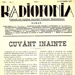 """""""Radiofonia"""", 15 octombrie 1925, tom 1, an 1, nr. 1"""