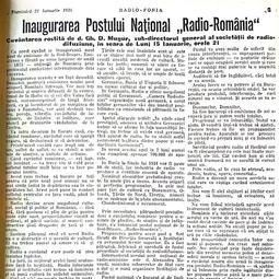 "Gh.D. Mugur - Inaugurarea postului Național ""Radio România"", ""Radiofonia"", 21 ianuarie 1934"