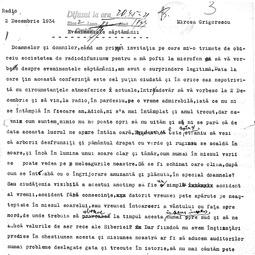 """""""Universitatea Radio"""". Mircea Grigorescu  - Evenimentele săptămânii (2 dec. 1934)"""