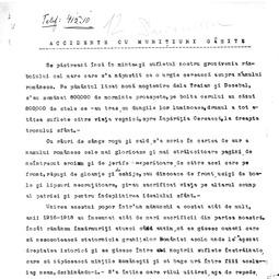 """""""Ora satului"""". Neculai Costăchescu - Accidente cu muniții găsite (20 mai 1934)"""