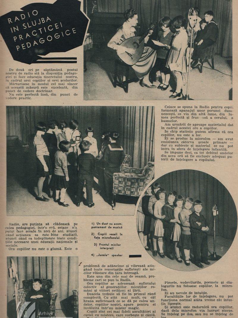 """Pagină dedicată emisiunii """"Ora Școlarilor"""" (1935)"""