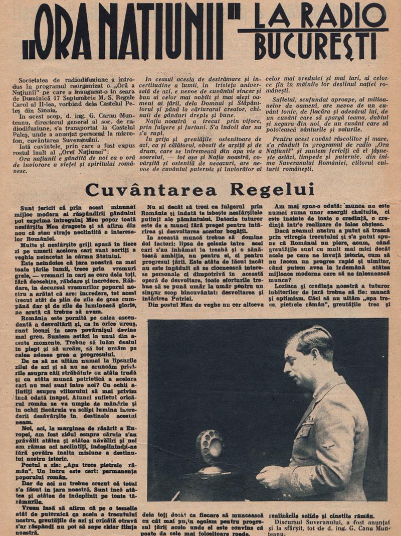 """Pagina dedicată inaugurării emisiunii """"Ora Națiunii"""" la Radio București (1933)"""