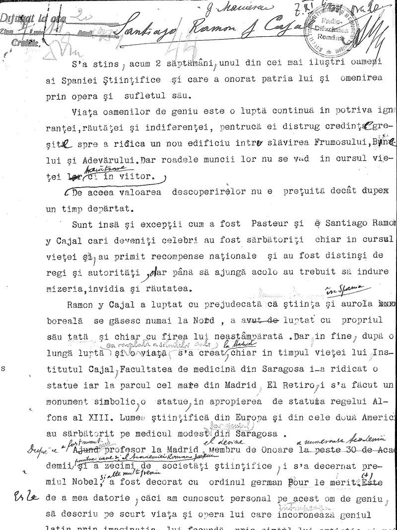 """Universitatea Radio"". Grigore Marinescu - Santiago Ramon Cajal (1934)"