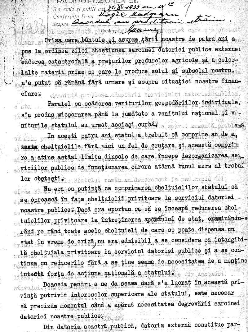 Virgil Madgearu - Acordul cu creditorii străini (1933)