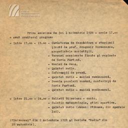 Programul primei emisiuni radio (1928)