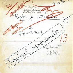 """Universitatea Radio"". Grigore Moisil - Kepler și astronomia (1943)"