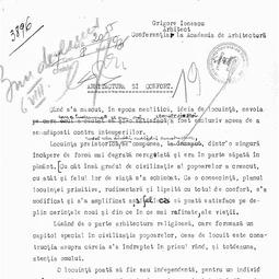 Grigore Ionescu - Arhitectură și confort (1936)