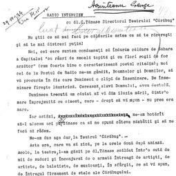 """George Acsinteanu - Radio-interview cu dl Constantin Tănase, directorul Teatrului """"Cărăbuș"""" (1934)"""