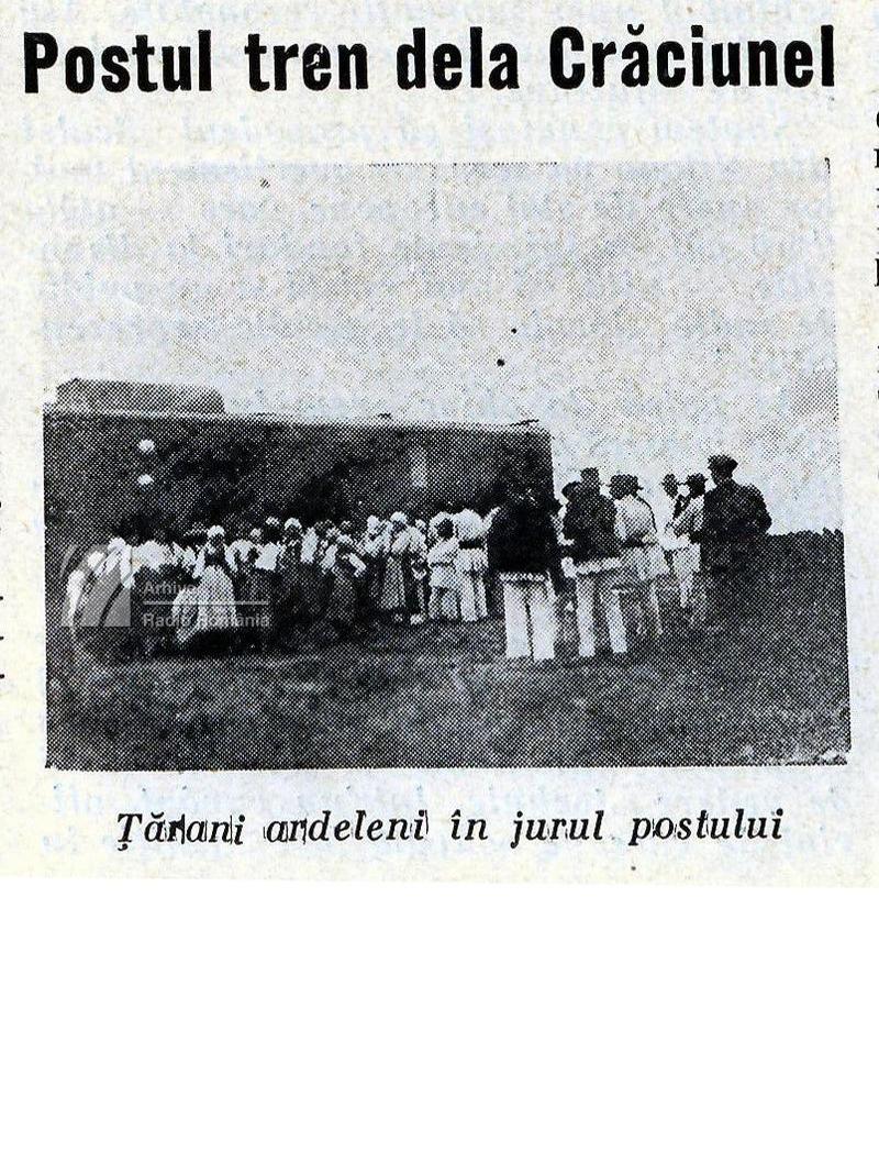 Postul tren de la Crăciunel înconjurat de țărani ardeleni (1933)