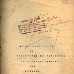 Actul constitutiv al Societății de Difuziune Radio-Telefonică (1926)