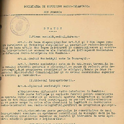 Statutul Societății Române de Radiodifuziune (1926)