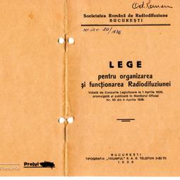 Lege pentru Organizarea şi Funcţionarea Radiodifuziunii (1936)