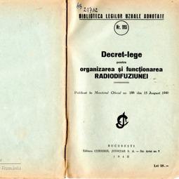 Decret-lege pentru organizarea şi funcţionarea Radiodifuziunii (1940)