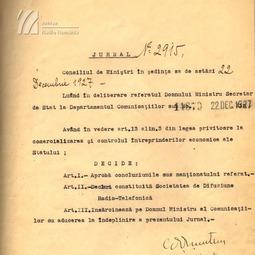 Decizia constituirii Societății de Difuziune Radio-Telefonică (1927)
