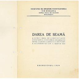 Dare de seamă a Consiliului de Administrație (1929)