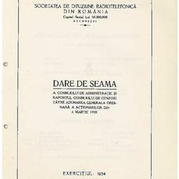 Darea de seamă a Consiliului de Administrație (1934)
