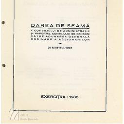 Darea de seamă a Consiliului de Administrație (1936)