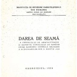 Darea de seamă a Consiliului de Administrație (1928)