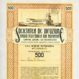 Certificat de acționar al Societății de Difuziune Radiotelefonică din Romania (1929)