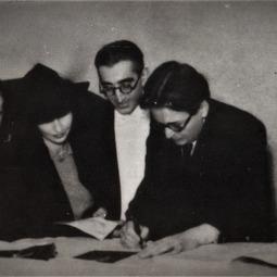 Iolanda Mărculescu alături de compozitorii Mihail Jora și George Enescu
